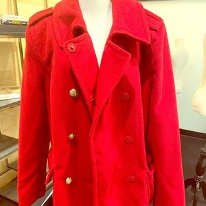 Style&co women XL red pea coat gold button pockets